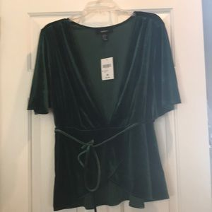 Green, velvet, low V neck